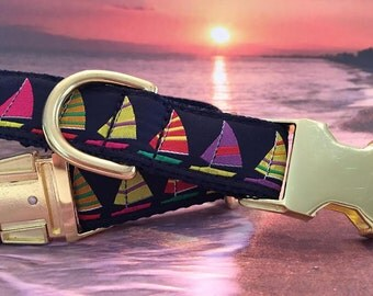 Nautical Dog Collar with Sailboats, In M, L, XL, Great Summer Dog Collar (Pictured with Brass Cost Upgrade)
