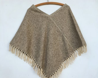 SALE Vintage 70s Wool Natural Woven Poncho Cape