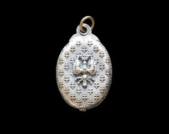 Mirror Locket Crowned Eagle Crest with Lorraine Cross Antique French