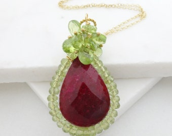 Large Ruby Necklace, Peridot Cluster Necklace. Bold Gemstone Statement Pendant Jewelry