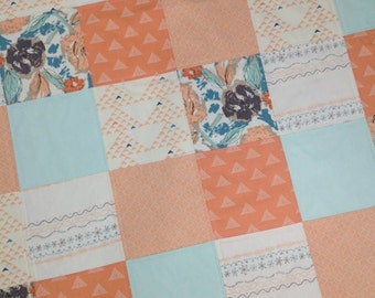 Patchwork Baby Blanket-Floral Baby Quilt-Coral Baby Quilt-Baby Girl Blanket- Handmade Baby Quilt-tapestry Baby Quilt Etsy-Ready to Ship