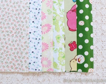 S024 Fabric Scraps Bundle Set - Chic Spring Sunflower Daisy Little Flowers BIrd Bunny Patchwork (6PCS, 9x9 Inches)