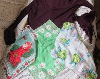 upcycled tunic top ladies M refashion vintage scarf & handkerchief hem festival artsy