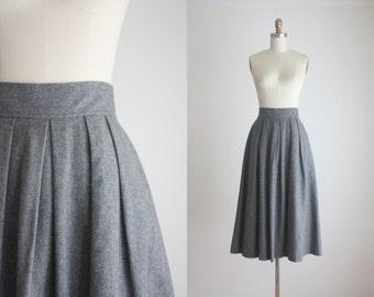 vintage grey wool midi skirt