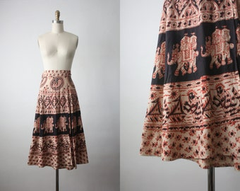 indian cotton skirt / vintage 1970s print skirt
