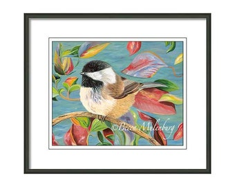 Chickadee PRINT bird art wildlife nature black-capped chickadee