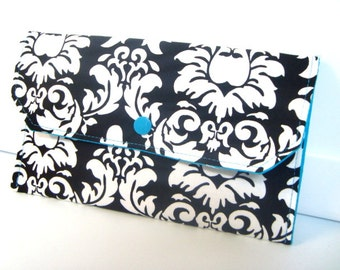 Cash Envelope Budget Coupon Organizer Clutch Use for the Dave Ramsey System Black and White Damask with Teal Lining