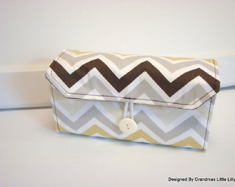 Cash Envelope Wallet  / Dave Ramsey System / Zipper Envelopes - River Rock Chevron Zig Zag