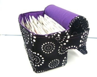 Super Size Coupon Organizer / Budget Organizer Holder Box -Black with White Dots - Purple Lining