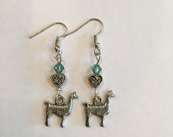 Llama Charm Earrings- Pewter Llama with Light Green Crystal Bead