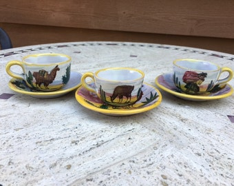 Hand Painted Peruvian Pottery. Small Tea or Coffee Cups and Saucers with Llama Design