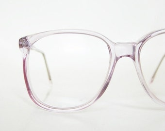 ON SALE Vintage Clear Purple 1980s Eyeglasses Womens Ladies Round P3 Nerdy Indie Hipster Chic Pastel Lavender Light Transparent 80s Nerdy Ge