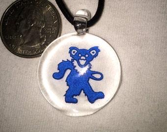 Blue Dancing Bear Grateful Dead Glass Necklace Pendant Hand Blown Pyrex...