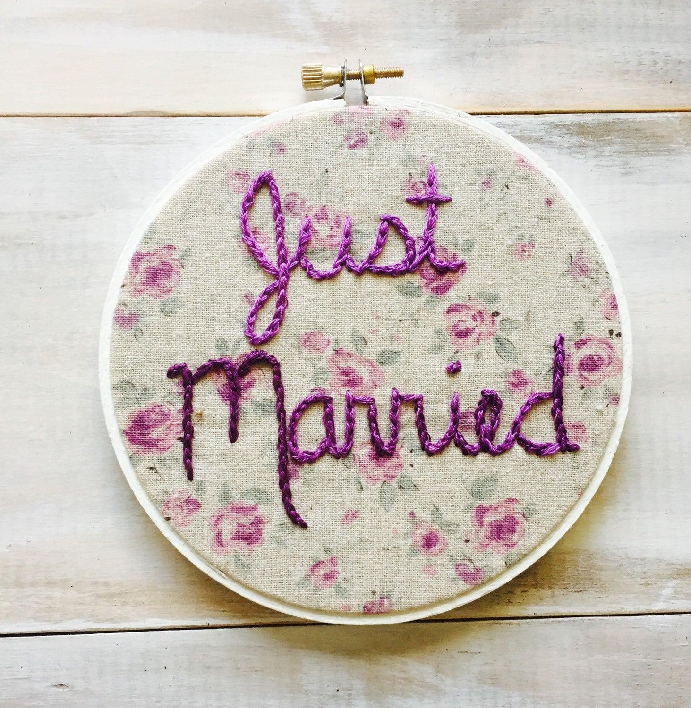 Just married wedding embroidery hoop newlywed gift
