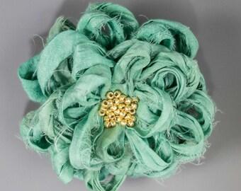 Seafoam Sari Silk Flower Brooch, Handmade Sari Silk Seafoam Flower Brooch, Seafoam Sari Silk Flower Brooch, Mint Green Flower Pin