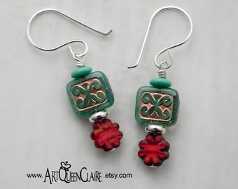 Czech Glass Turquoise and Burnt Orange Earrings with Sterling Silver Earwires
