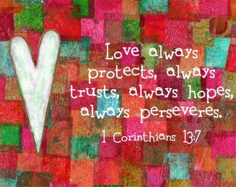 Christian Art Bible Verse Scripture Print 1 Corinthians 13:7 Red