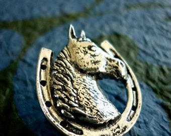 Antiqued Pewter Tie Tack Pin Horse