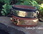 Monogram Leather Cuff Bracelet Thin Rectangle-ENGRAVED