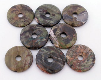 Agate round donut, natural, 30mm  Sold per pkg of 2.