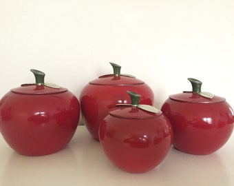 RED DELICIOUS. Vintage 1950's Aluminum Apple Canisters - Set of 4 - Mid Century Modern - Retro Kitchen Decor - Silver Leaves and Green Stems