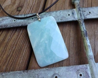 Faceted Amazonite Pendant Necklace