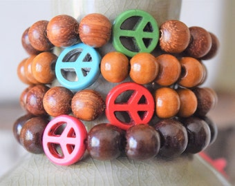 Stackable Peace Sign Wooden Beaded Bracelets- Your Choice of Colors