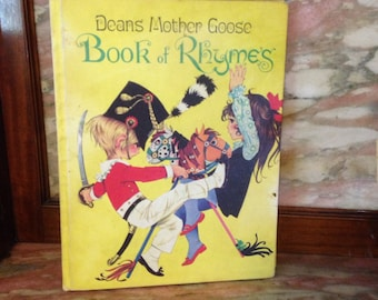 70s Mod Dean's Mother Goose Book of Rhymes Hardcover, Janet & Anne Grahame Johnstone 1977