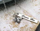 Queen Bee Necklace, Sterling Silver, honeybee necklace, stamped, engraved, bumble bee jewelry