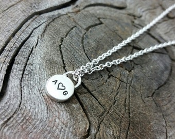 Custom Modern Silver Locket Pendant Personalized Thick Pad Lock Charm Hand Stamped Initial Necklace Engraved Artisan Handmade Fine Jewelry
