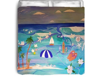 Beach day duvet cover from my art. Available in twin,queen and king sizes
