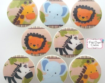 JUNGLE BUDDIES KNOBS M2M bedding Kids Nursery drawer pulls ... elephant giraffe zebra lion