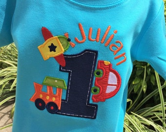 Boys Planes, Trains and  Automobile Birthday shirt on teal or white