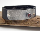 Sterling Silver and Garnet Leather Bracelet
