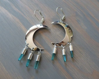 Crescent Moon Aquamarine Crystal Earrings Faux Quartz Crystal Silver Charm Dangle Ear Jewelry Aqua Point Half Hoops