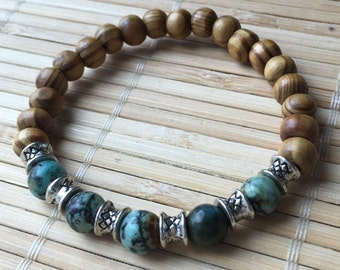 Unisex African Turquoise Wood and Silver Stacking Bracelet Healing Gemstone Jewelry Men or Women