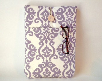 """iPad Pro 12 . 9 """" Case, iPad Pro 9 .7 Sleeve, Womens Padded Tablet Gadget Cover, Ladies Laptop Bag with Pocket, Lavender, Purple Ikat, Lilac"""