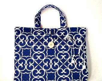 Blue Mac Book Air or Pro Retina Bag 13 inch Laptop Tote, Custom Size Padded Pocket Case, Handbag Purse Handles Straps Carrier MacBook Sleeve