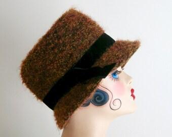 Vintage Curly Wool Burnt Orange with Black Velvet Trim Bucket Style Hat
