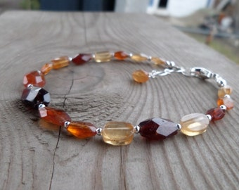 Reserved for Lynn Faceted Orange (Hessonite) Garnet with Sterling Silver Gemstone Birthstone Bracelet