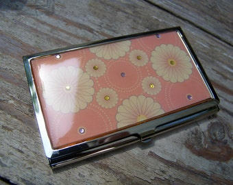 Daisies, Flowers, Enamel Business Card Holder Case Wallet, bedazzled, 1980s, New in Box, Vintage, Crystals, enamel, silver, elegant