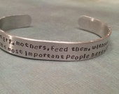 Breastfeeding Mother's Bracelet. Support for Breastfeeding. Adjustable Cuff Bracelet. Pope Francis Quote. La Leche.