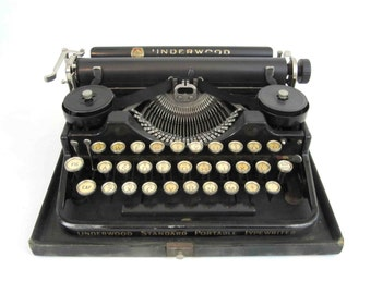 Vintage Underwood Standard Portable 3 Bank Typewriter with Case. Circa 1920's.