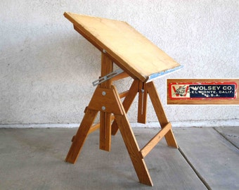 Vintage Drafting Table in Oak by Wolsey Co. El Monte Ca. Circa 1960's.