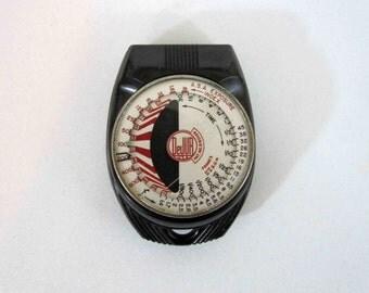 Vintage DeJur Amsco Exposure Meter with Leather Case. Circa 1940's.