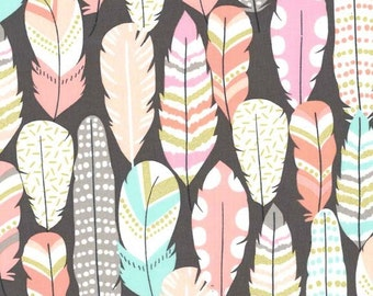 Plucked Feathers in Coin Michael Miller Fabric, Choose your cut