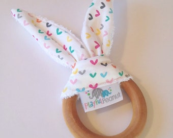 Natural Bunny Teething Ring | Teether | Bunny Ears | Teething Ring | Hearts O Plenty