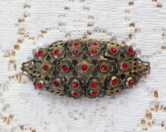 Pretty Long Oval Filigree Flower Brooch / Pin / Broach with Ruby Red Rhinestone Centers, Flowers / Floral, Rhinestones