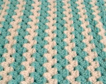 Crochet Baby Blanket Unisex Baby Blanket Green White  Striped Crochet Stroller Blanket Baby Shower Gift
