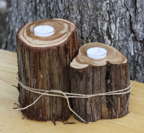 Rustic wedding decor candle votive holder by tricia designs